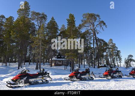 Winter landscape on Lake Inari in Finland - Stock Photo