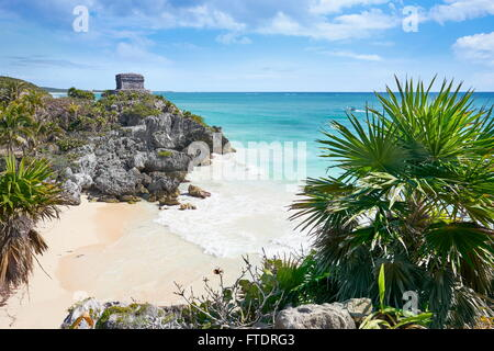 Ancient Maya Ruins, Caribbean Beach of Tulum, Mexico's Riviera, Mexico - Stock Photo