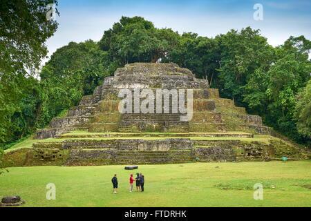 Belize - Jaguar Temple in Lamanai, Ancient Maya Ruins - Stock Photo