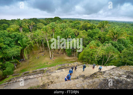 Tourists admiring view of Yucatan from the top of High Temple, Ancient  Maya Ruins, Lamanai, Belize - Stock Photo