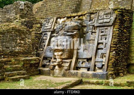 Mask Temple, Ancient Maya Ruins, Lamanai, Belize - Stock Photo