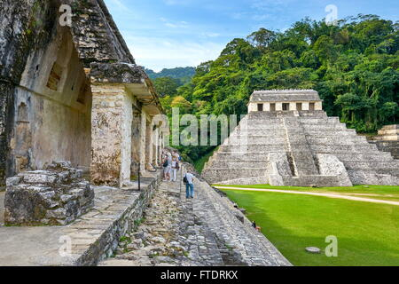 Temple of Inscriptions or Templo de Inscripciones, Ancient Maya Ruins, Palenque Archaeological Site, Palenque, Mexico, - Stock Photo