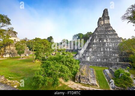 Maya Ruins - Temple of the Great Jaguar (Templo del Gran Jaguar), Tikal National Park, Guatemala, UNESCO - Stock Photo