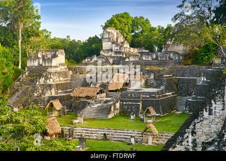 Ancient Maya Ruins, Tikal National Park, Guatemala, UNESCO - Stock Photo