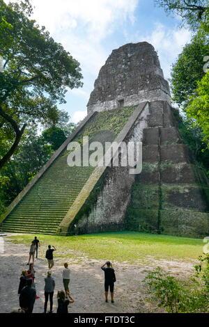 Temple V, Tikal National Park, Maya Ruins, Yucatan, Guatemala UNESCO - Stock Photo