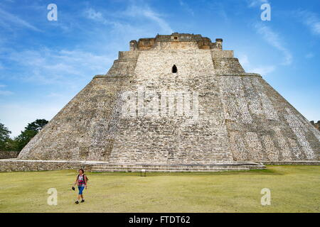 Pyramid of the Magician in Uxmal, Yucatan, Mexico UNESCO - Stock Photo