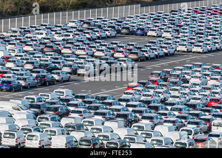 Rows of new cars parked in port platform of the Le Port on Reunion island - Stock Photo