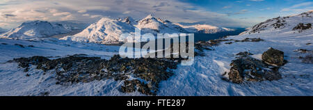 Panoramic view towards Store Blamann and the open ocean from Rodtinden, Kvaloya, Troms, Northern Norway - Stock Photo