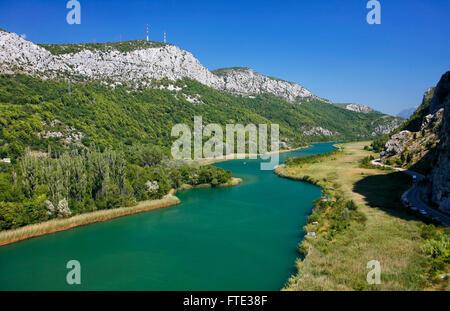 Cetina river near Omis town in Croatia - Stock Photo