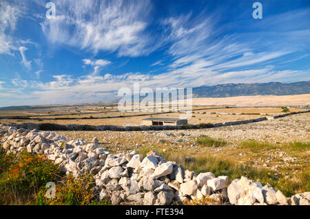 Landscape of island Pag with a beautiful clouds, Croatia - Stock Photo