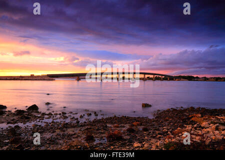 Landscape od bridge at sunset, Vir Croatia. - Stock Photo