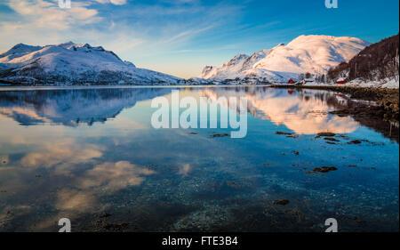 Snowy winter landscape in Kaldfjord, Kvaløya, Norway - Stock Photo