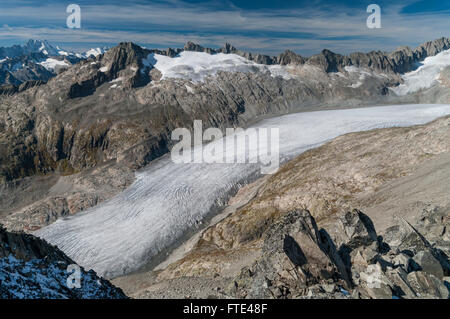 Rhonegletscher, a large glacier in the Alps, surrounded by mountains. Seen from Klein Furkahorn (3026 m). Valais, - Stock Photo
