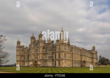 View on Burghley House, a grand 16th-century country house near the town of Stamford, Lincolnshire/ Cambridgeshire, - Stock Photo