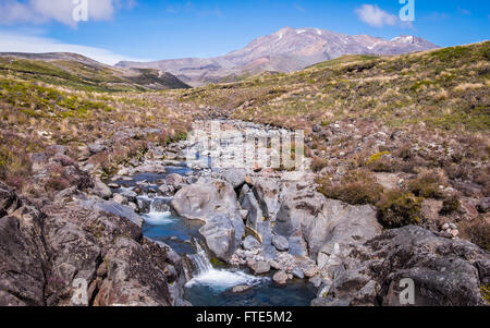 Mt Ruapehu and the surrounding lanscape of the Tongariro National Park in New Zealand - Stock Photo
