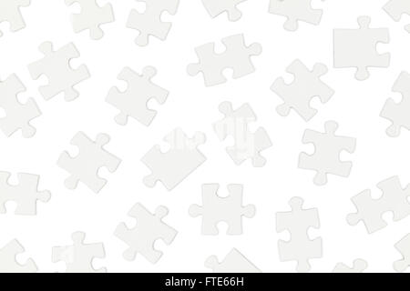 Scattered White Puzzle Pieces Isolated on White Background. - Stock Photo