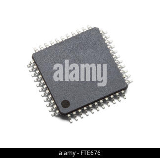 Black Microchip With Copy Space Isolated on White Background. - Stock Photo