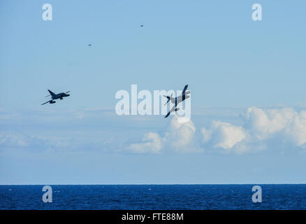 131205-N-QL471-405 MEDITERRANEAN SEA (Dec. 5, 2013) - Two French navy Dassault-Breguet Super Etendard aircrafts - Stock Photo