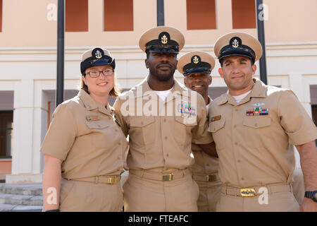 140916-N-OX801-356 NAPLES, ITALY (Sept. 16, 2014) Chief Information Systems Technician Patrick Stanley poses with - Stock Photo