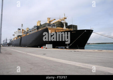 150504-N-VJ282-210 NAVAL STATION ROTA, Spain (May 4, 2015) The Military Sealift Command cargo ship USNS 1ST Lt. - Stock Photo