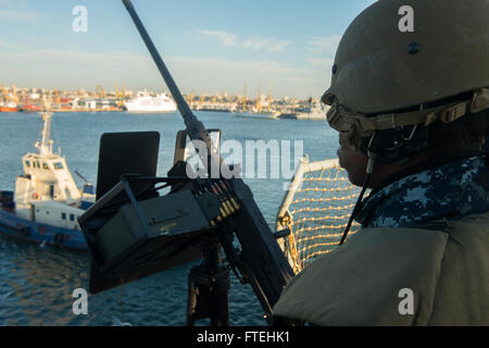 CONSTANTA, Romania (Oct. 20, 2014) – Information Systems Technician Seaman Apprentice Anthony Dotson stands a force - Stock Photo