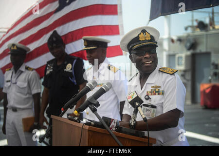 SEKONDI, Ghana (Feb. 24, 2015) Commodore Mark Yawson, flag officer fleet of the Ghana Navy, offers remarks at the - Stock Photo