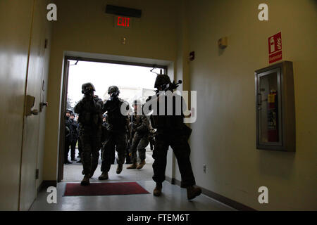 BUCHAREST, Romania (Feb. 25, 2015) U.S. Marines from Alpha Fleet Anti-terrorism Security Team Company Europe (FASTEUR), - Stock Photo
