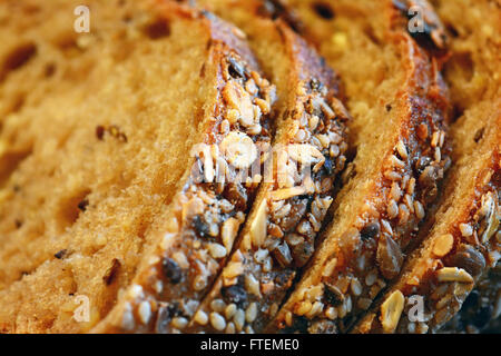 Grained bread slices, Close up - Stock Photo