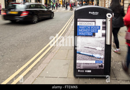 Controversial anti begging adverts by Nottingham City Council (Labour) in conjunction with Nottinghamshire Police. - Stock Photo