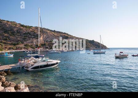 Yachts in Agios Nikolaos port on Zakynthos, Greece - Stock Photo