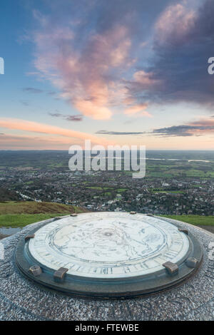 The toposcope on the Worcestershire Beacon, part of the Malvern Hills, is covered in rain drops on a cold and wet - Stock Photo