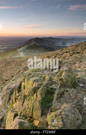 Rocks on the Worcestershire Beacon, part of the Malvern Hills, on a cold January morning. - Stock Photo
