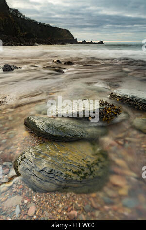 Lee Bay Beach, Devon, England, reveals beautiful rocks and pebbles as the sea recedes at low tide. - Stock Photo
