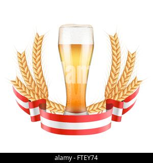 Brewery Label with light beer glass and ribbon - Stock Photo