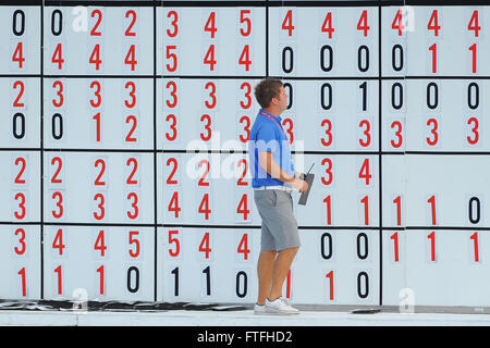 Palm Beach Gardens, Fla, USA. 1st Mar, 2012. The scoreboard during the first round of the Honda Classic at PGA National - Stock Photo
