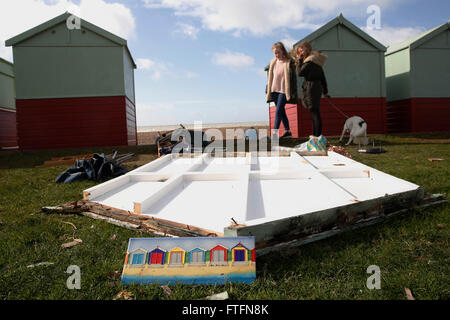 Brighton, UK. 28th Mar, 2016. Dog walkers look at damaged beach huts in Hove after winds and rain brought by Storm - Stock Photo
