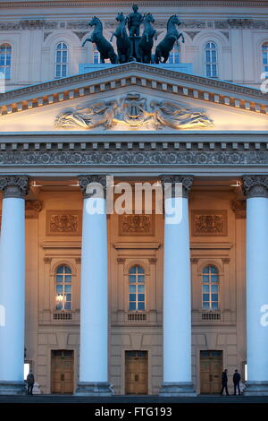 Moscow, Russia. 28th Mar, 2016. The facade of the main building of the Bolshoi Theatre at Teatralnaya Square. On - Stock Photo