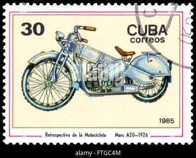 BUDAPEST, HUNGARY - 18 march 2016:  a stamp printed in CUBA shows a Mars A20, 1926,  series of images 'Vintage Motorcycle' - Stock Photo