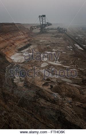 bucket-wheel excavator, opencast pit Garzweiler, Germany, operated by RWE energy company - Stock Photo