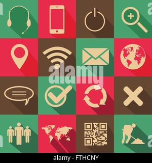 Retro Style Web and Mobile Icons - Stock Photo