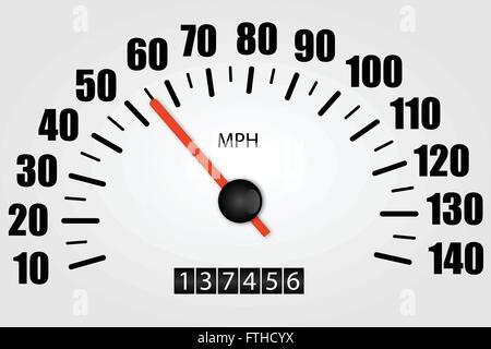 White Speedometer Illustration - Stock Photo