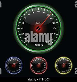 Colorful Speedometer Vector Illustration - Stock Photo