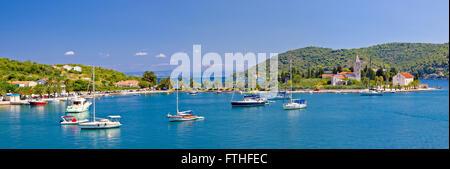 Vis island church and harbor panorama, Dalmatia, Croatia - Stock Photo
