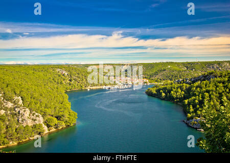 Krka river and town of Skradin view, Dalmatia, Croatia - Stock Photo