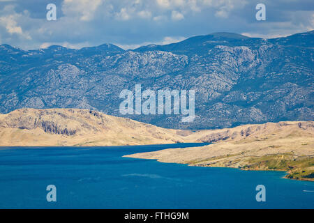 Island of Pag and Velebit mountain, Croatia - Stock Photo