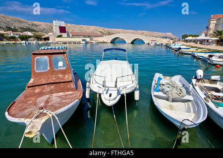Pag island old boats in harbor, Croatia - Stock Photo