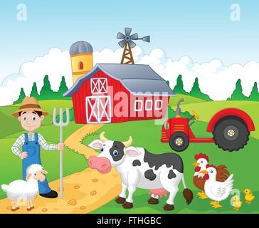 Farmer working in the farm - Stock Photo