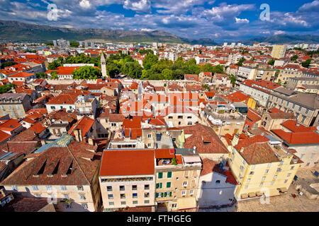 Split old city center aerial view, Dalmatia, Croatia - Stock Photo