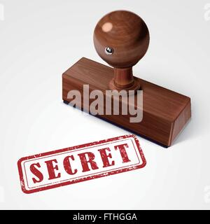 stamp secret in red over white background - Stock Photo
