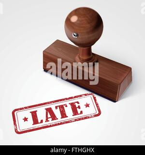 stamp late in red over white background - Stock Photo